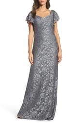 La Femme Flutter Sleeve Lace Column Gown