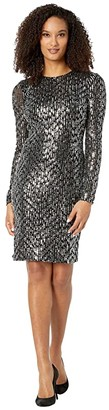 Calvin Klein Long Sleeve Sequin Sheath Dress (Black/Tin) Women's Dress
