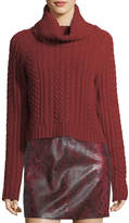 Alice + Olivia Tobin Cable-Knit Cropped Turtleneck Sweater