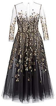 Oscar de la Renta Women's Embellished Illusion Fit-&-Flare Cocktail Dress