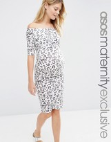 Asos Bardot Dress With Half Sleeve in White Leopard