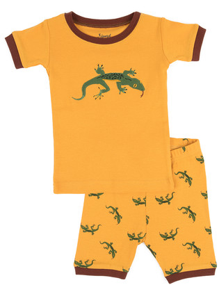 Leveret Boys' Sleep Bottoms Orange - Mustard Yellow Lizard Pajama Set - Toddler