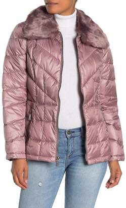 Kenneth Cole New York Faux Fur Collar Zip Front Puffer Jacket