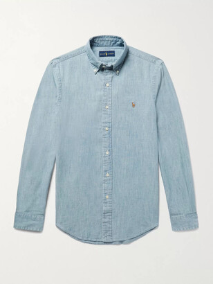 Polo Ralph Lauren Slim-fit Washed Cotton-chambray Shirt - Blue
