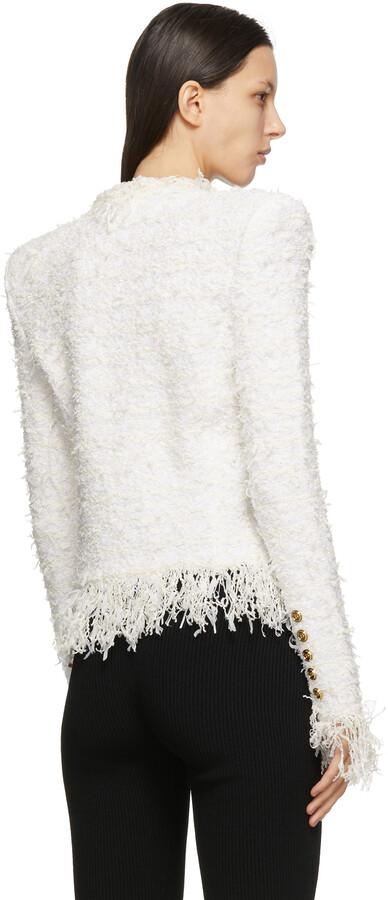 Thumbnail for your product : Balmain White & Off-White Fringed Tweed Striped Blazer