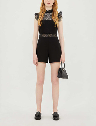 Maje Ruffled stretch-lace and ponte playsuit
