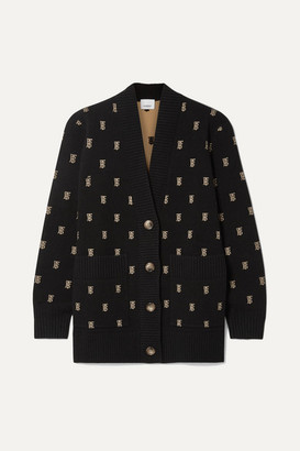 Burberry Intarsia-knit Cardigan - Black