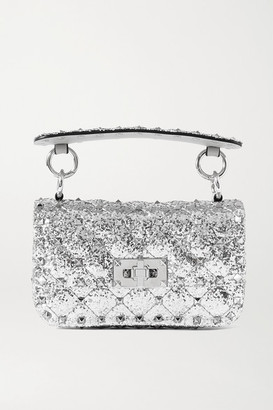 Valentino Garavani Rockstud Spike Micro Quilted Glittered Leather Shoulder Bag - Silver