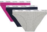 Calvin Klein Underwear Set Of Three Carousel Stretch-cotton Jersey Briefs - Stone
