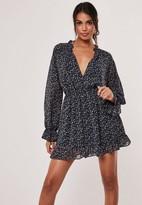 Missguided Black Floral High Neck Plunge Smock Dress