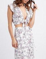 Charlotte Russe Printed Tie-Front Crop Top