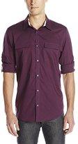 Calvin Klein Men's End On End Dobby Grid Woven Shirt