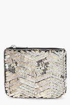 boohoo Womens Ella Zig Zag Sequin Zip Top Purse in Gold size One Size