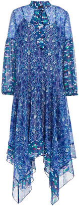 Anna Sui Pussy-bow Printed Metallic Georgette And Chiffon Dress