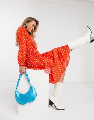 Essentiel Antwerp Vazongas asymmetric polkadot midi dress in berry red