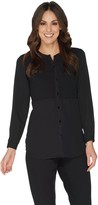 Joan Rivers Classics Collection Joan Rivers Button Front Blouse with Smocking Detail