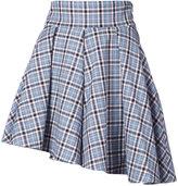 Petersyn checked asymmetric mini skirt
