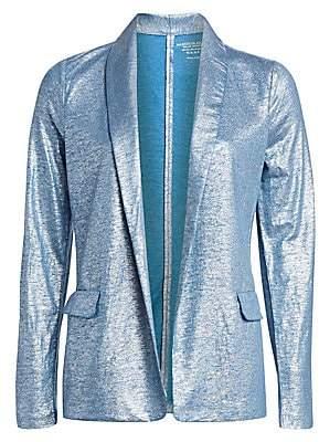 Majestic Filatures Women's Metallic Linen-Blend Shawl Collar Blazer
