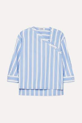 Jil Sander Asymmetric Striped Cotton-poplin Shirt - Blue