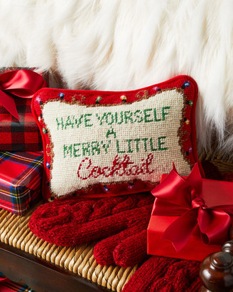Merry Little Cocktail Needlepoint Pillow
