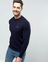 Jack Wills Marlow Cable Knit Sweater in Navy