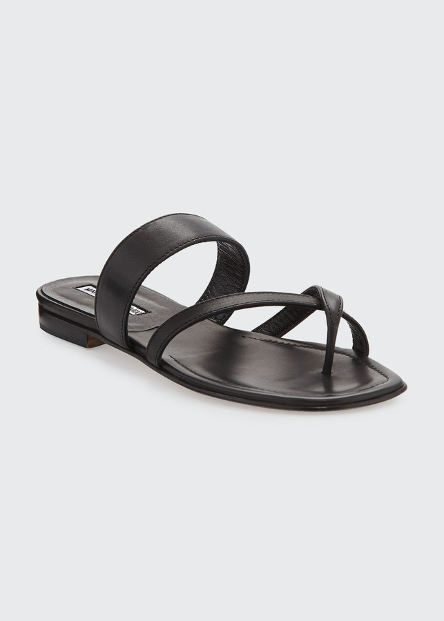 Manolo Blahnik Susa Crisscross Leather Flat Sandals