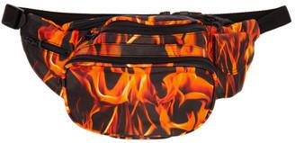 Marine Serre SSENSE Exclusive Black and Orange Leather Fire Banana Bag
