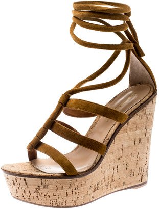 Gianvito Rossi Brown Suede Cork Wedge Ankle Wrap Strappy Sandals Size 36.5