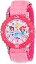 Disney Kids' W000961 Princess Glitz Stainless Steel Printed Bezel Pink Nylon Strap Watch