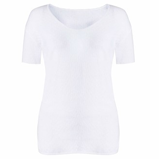 Style Spot Womens Ultra Soft Base Layer Thermal Underwear White Eyelet Heat Trapper Long Johns Warm & Comfy Thermal Top & Pants (White Tshirt West L)