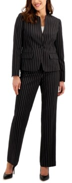 Le Suit Pinstriped Single-Button Pants Suit