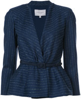 Carolina Herrera Pinstriped peplum blazer - women - Virgin Wool - 2