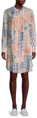 Tory Burch Cora Patchwork-Print Silk Dress