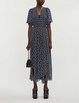 Maje Rachello graphic-print chiffon midi dress