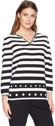 Alfred Dunner Women's Stripe Sweater