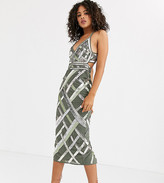 Asos Tall DESIGN Tall midi pencil dress with cut out and lattice embellishment