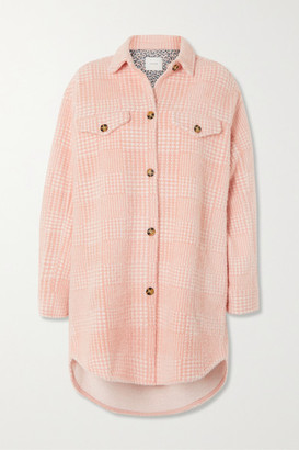 MUNTHE Edmond Oversized Checked Brushed-flannel Jacket - Pastel pink