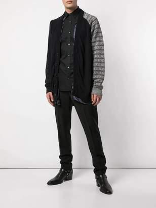 Raf Simons cotton cardigan with contrast sleeve grey