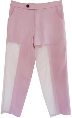 Not Mauve Silk Linen Cropped Pants With Asymmetric Sheer Mesh Legs