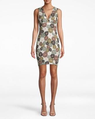 Nicole Miller Camo Delilah Cotton Metal V-neck Sheath Dress