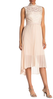 Reiss Aideen Lace Yoke Pleated High/Low Dress