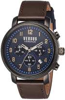 Versus By Versace Men's 'HOXTON SQUARE' Quartz Stainless Steel and Leather Casual Watch, Color:Brown (Model: S70030016)