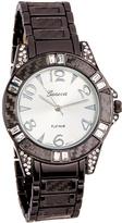Geneva Platinum Gunmetal Crystal Bracelet Watch