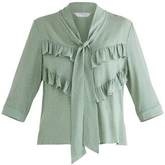 Paisie Bond Polka Dot Blouse In Mint Green