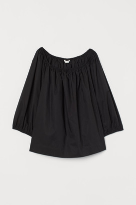 H&M Cotton Puff-sleeved Blouse - Black