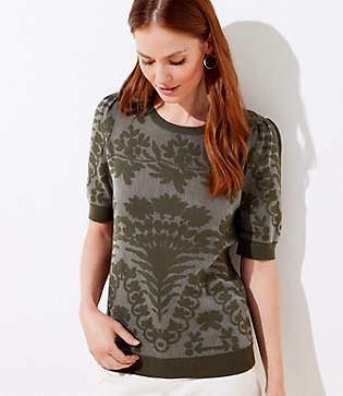 LOFT Petite Floral Jacquard Puff Sleeve Sweater