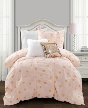 Lush Decor Metallic Heart Print 2-Piece Twin Xl Comforter Set Bedding