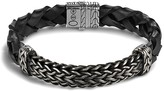 John Hardy Men's Classic Chain Extra Large Oxidized Sterling Silver Station and Braided Black Leather Bracelet