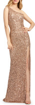 Mac Duggal 6-Week Shipping Lead Time Sequin One-Shoulder Cowl-Back Sheath Gown