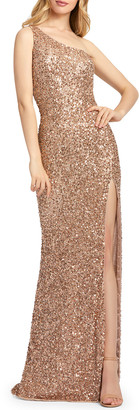 Mac Duggal Sequin One-Shoulder Cowl-Back Sheath Gown